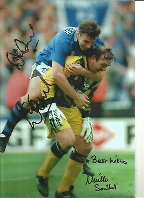 Neville Southall David Unsworth Everton Authentic Hand Signed soccer photo SS233