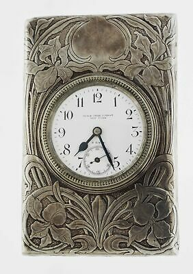 Antique Black Starr & Frost New York Sterling Silver 8 Day Travel Clock No Mono