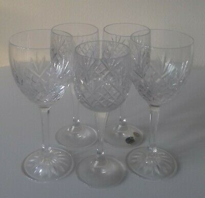 5 Vintage Bohemia Glass Crystal Cut Wine Glasses New.  Collection Only