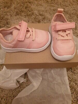 Clarks Girls Pink Trainers Size 4G VGC