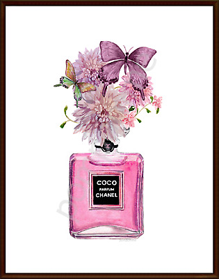 Perfume Bottle Print Wall Art Watercolour Picture Home Decor Lilac Butterfly A4
