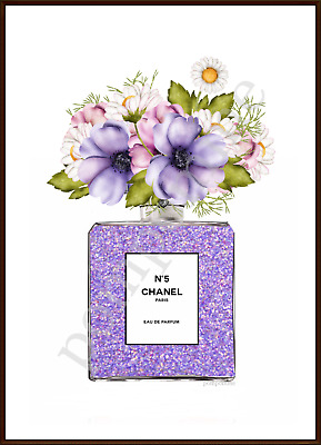 Lilac Perfume Bottle Print Wall Art Watercolour Picture Home Decor Flowers A4