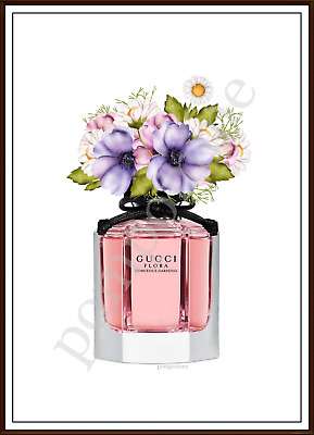 Designer Perfume Bottle Print Fashion Wall Art Room Picture Pink Lilac Flowers