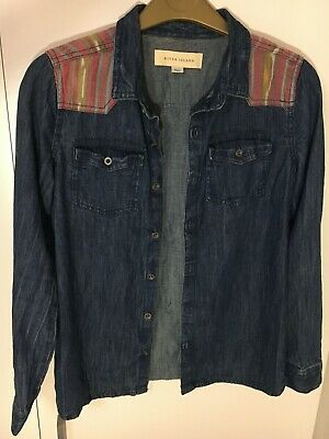 Girl's denim shirt with pattern on shoulders for kids (age 11) - River Island