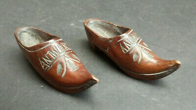 Antique Vintage Pair of Little Treen Shoes Cloggs Hand Carved Signed Antwerp Old