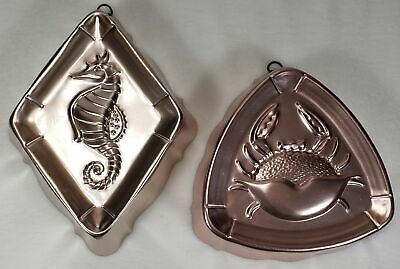 Vintage West Bend Copper CRAB & SEAHORSE Jello Food Molds Wall Hangings MCM