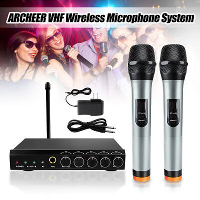 ARCHEER VHF Wireless bluetooth Microphone System W/ 2 Handheld Mic For