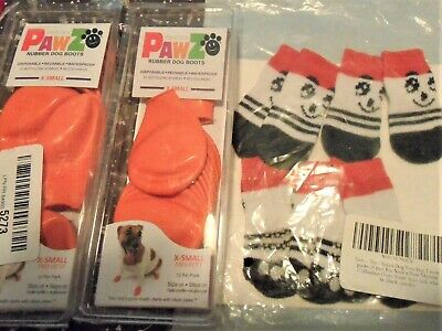 2 Packs PawZ Protex Dog Boots Water-Proof  AND 1 PACK dog socks