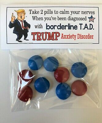TRUMP Anxiety Disorder Pills - GAG Gift Bags, funny prank novelty joke, Donald