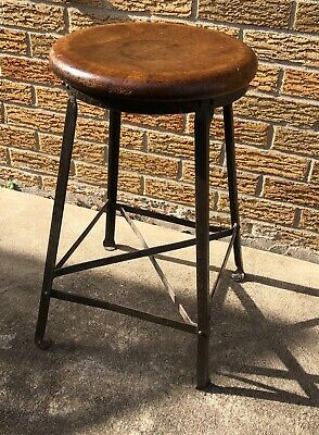 Industrial Post Office Stool 1940 Stationary 4 Legs Angled Steel Maple Seat VTG