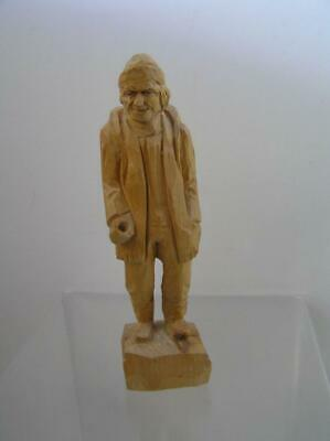 "FOLK ART CARVED WOOD HIKER BY  MARCEL GUAY JEAN PORT JOLIE, QUEBEC  CA  7"" tall"