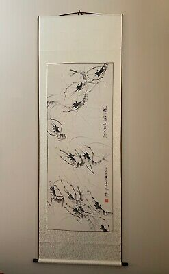 LARGE 6 Foot Chinese Scroll Hand Painting Vivid Shrimps