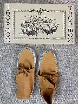 Vintage Child's Size 1 Taos Mox Leather Moccasins * Indian Maid * w/Box * YUCCA