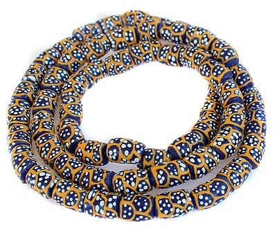 Ghana African Matched Fancy Cobalt Blue Cylinder Recycled glass trade beads