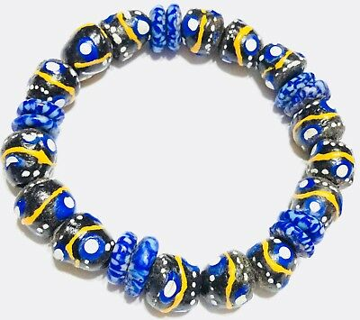 Blue multi color recycled glass handmade bracelet-African Trade Beads-Ghana
