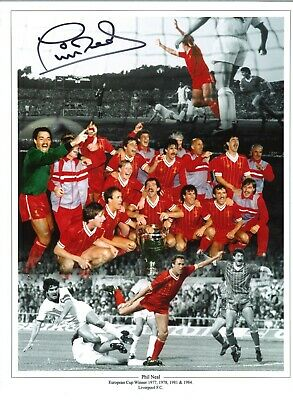 Phil Neal collage Liverpool Authentic Hand Signed football photo SS324