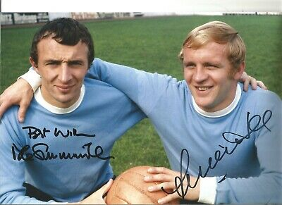 Mike Summerbee and Francis Lee Manchester City Authentic Hand Signed photo SS424