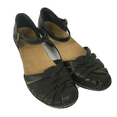 Clarks Black Leather Buckle Front Small Heel Summer Shoes Size 7/40