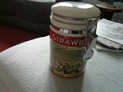 Wilkin's And Sons Tiptree Conserve Clip Top Ceramic Kitchen Canister.