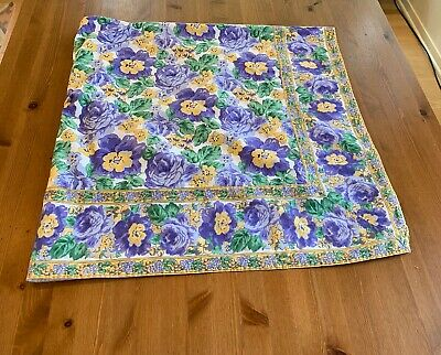 "April Cornell Lavender Green & Yellow-gold 50""x 52"" Table Cloth Vintage"
