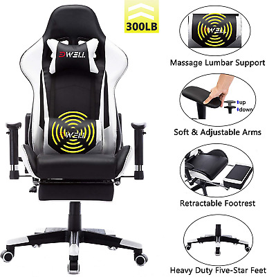 Remaxe Office Chair Gaming Chair with Footrest Computer Chair Desk Chair PU with