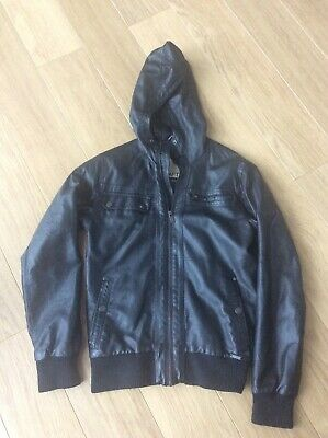 Mens/boys Faux Leather Hooded Jacket Crafted Xs