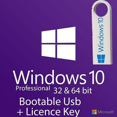 Windows 10 Pro 32/64Bit Bootable Pre-Booted USB Flash Drive + Activation Code
