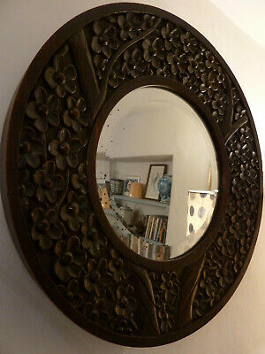 19th Century Victorian antique mirror carved wood original large round bevelled