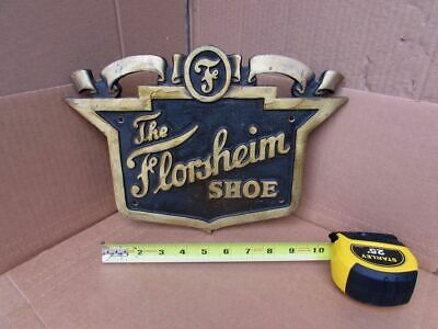 HEAVY DUTY Antique Vintage Brass Bronze Florsheim Shoes Embossed Sign Plaque
