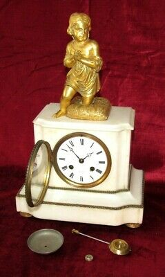 Nice French White Marble & Ormolu Mantle Clock With Figure