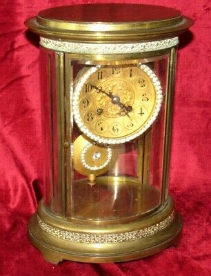 Unusual French Oval Four Glass Antique Mantle Clock