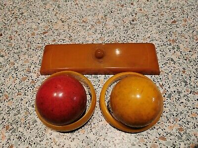 Bakelite  Antique Vintage Old Amber Bakelite Fiber Ball Dice Rod Block 493 gr