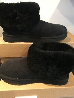 Ugg Classic Mini Fluff 1106757 Black Woman's Size 10 Boots, Authentic New