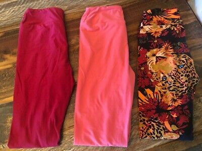 LulaRoe Tween Leggings Set of (3) Pair Cheetahs, Solid Red & Coral