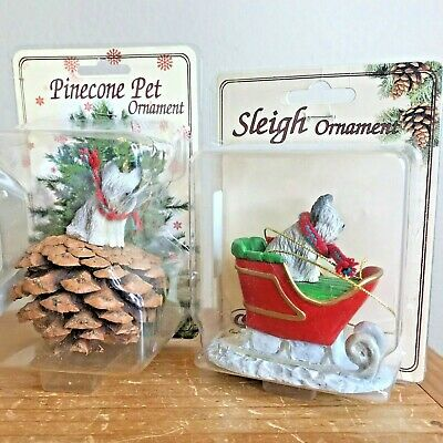 Skye Terrier Christmas Ornament Sleigh Dog Lot of 2 Red Pinecone Ornaments New
