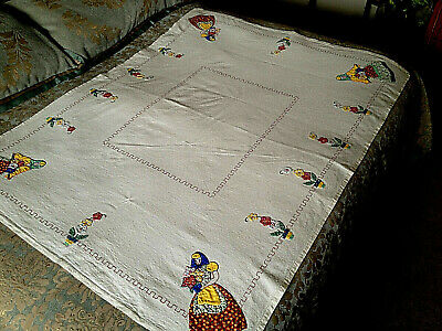 Vintage Hand Made Tablecloth Applique Embroidery Peasant Girl