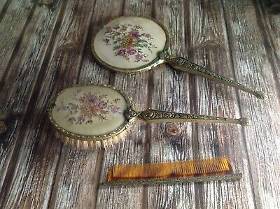 Vintage Vanity Set - Mirror Comb & Brush - Lovely Old Ladies Bathroom Set