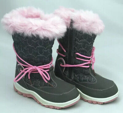 Pineapple Girls Thermal & Fur Trimmed Snow Boots 2 UK, Pink & Grey, NEW