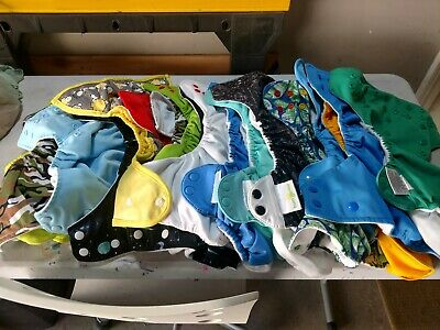 Used Cloth Diaper Shells/Outers, lot of 19 with over 30 liners/inserts.