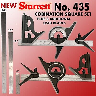 New Starrett  #435 Combination Square 4 Piece Set With 3 Additional Used  Blades
