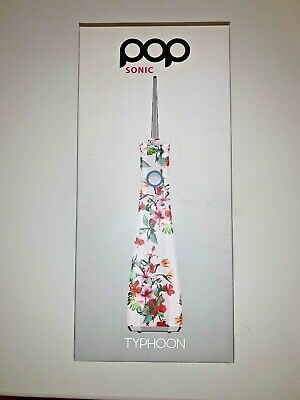 Pop Sonic Water Flosser Typhoon Travel - White Floral + 4 Removable Heads & Cord