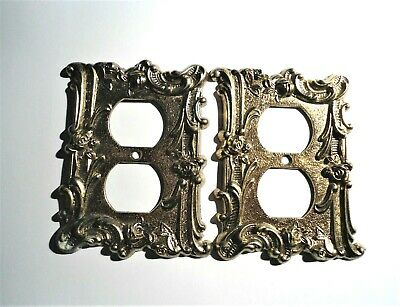 2 Vintage No. 600 Charm-n-Style Antique Brass  Outlet Cover Plates Floral