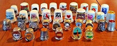 Vintage lot of 36 assorted estate find collectible sewing thimbles