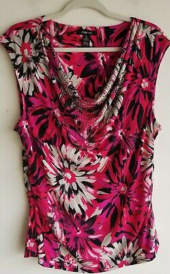 Style & Co Womens Top Sz L Black Pink Floral  Sleeveless Blouse Career Cami