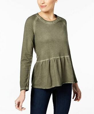 Style & Co Women's Long Sleeve Peplum Blouse Size S Olive Sprig