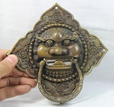 "6"" China Chinese Folk Home Copper Fu Foo Dog Lion Head Door knocker Statue 15cm"