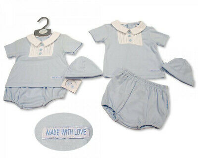 Baby Boys Clothes Top and pants set hat spanish Style Blue  Newborn 0-3 3-6 m