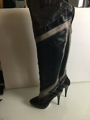 River Island Black Leather Over The Knee Thigh Boots. Size 6UK. Exc Condition