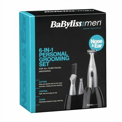 BaByliss Mens 7040CU 6-in-1 Grooming Trimming Kit for Ear, Nose, Beard, Eyebrow