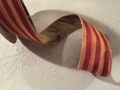"Mackenzie Childs Heirloom Stripe  Wire Edge Ribbon 2"" Wide by the yard NEW"